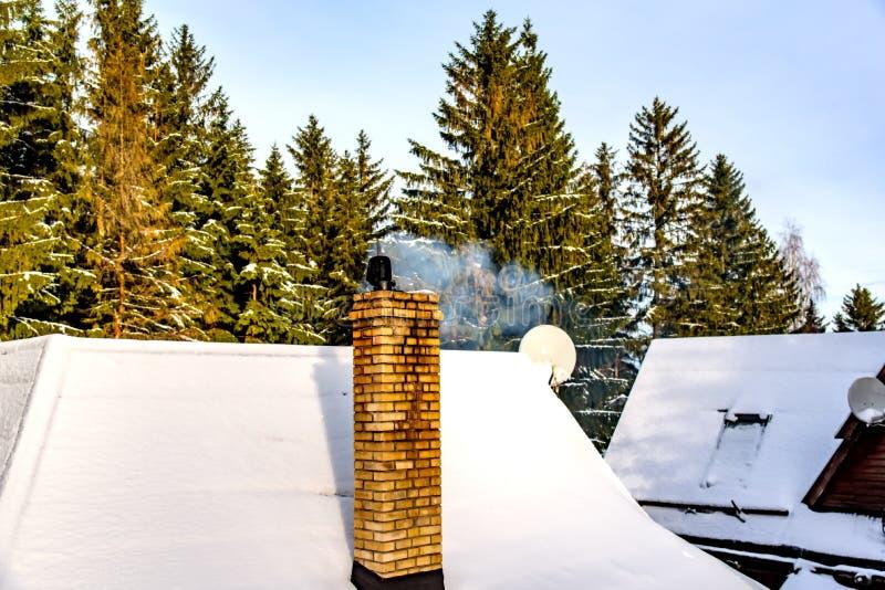 Rökning på Winter Chimney fotografering för bildbyråer