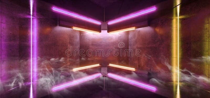 RökSci Fi formade den futuristiska pilen faktiskt för vibrerande gul purpurfärgad Grunge för korridor för neonljus glödande konkr stock illustrationer