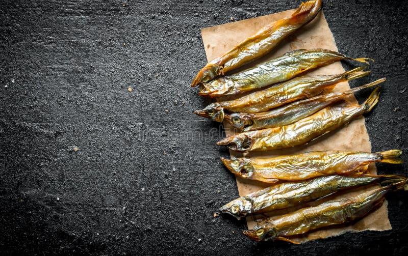 Rökt fiskliten stackare på papper royaltyfria bilder