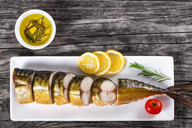 Rökt fiskmakrill eller Scombe, bästa sikt fotografering för bildbyråer
