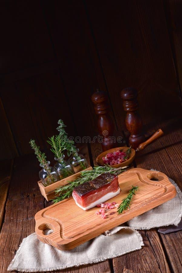 Rökt södra Tyrolean bacon royaltyfri fotografi