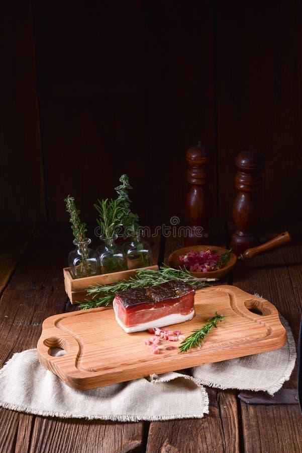 Rökt södra Tyrolean bacon arkivbild