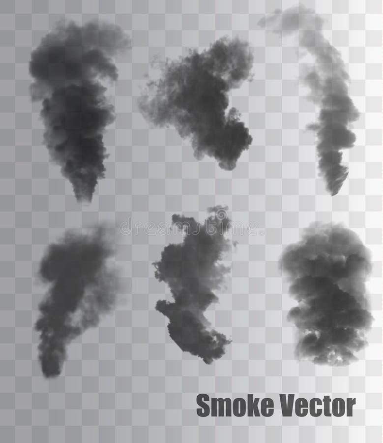 Rökvektorer på genomskinlig bakgrund royaltyfri illustrationer