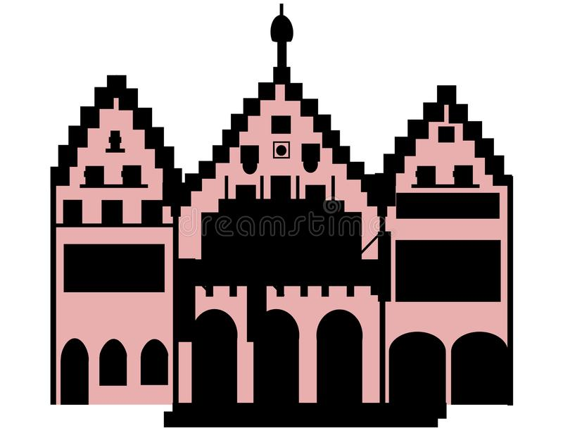 Römer Frankfurt Main Germany Europe. This is a vector image. The image shows the historic building Römer in Frankfurt, Main, Germany, Hessen, Europe. The R vector illustration