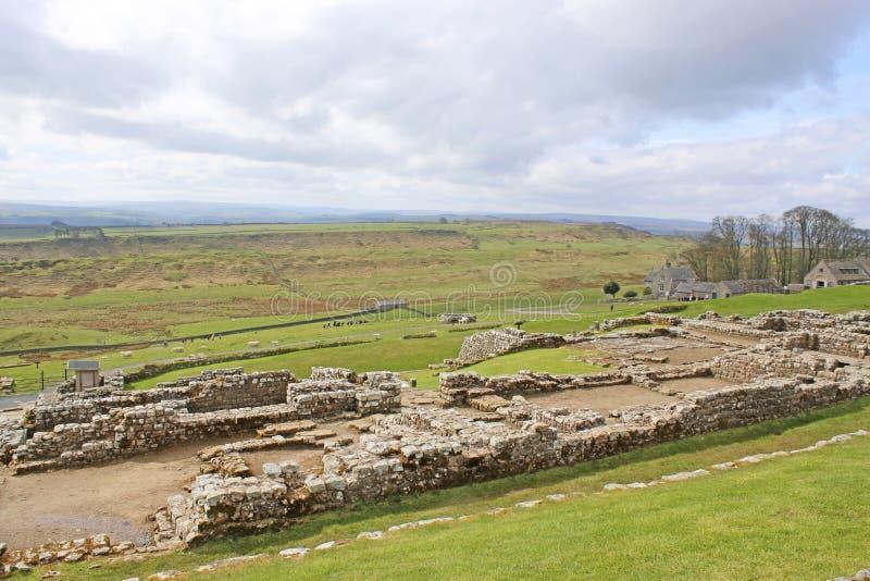 Römische Überreste bei Housesteads, Northumberland lizenzfreie stockfotos