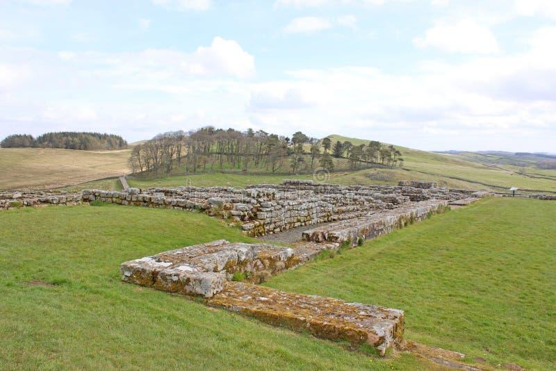 Römische Überreste bei Housesteads, Northumberland lizenzfreie stockbilder