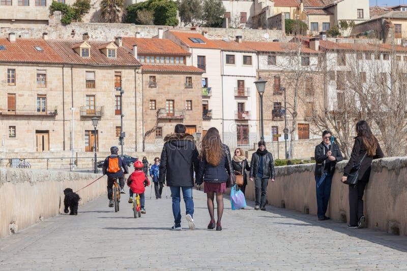 Römische Brücke Salamancas stockfotografie