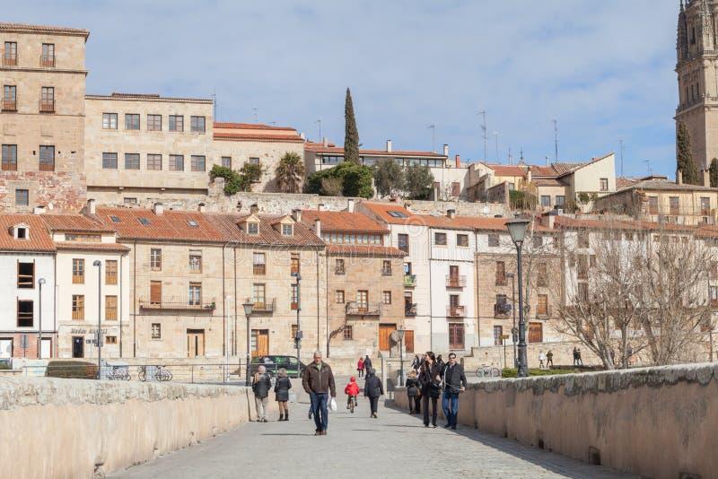 Römische Brücke Salamancas stockbild