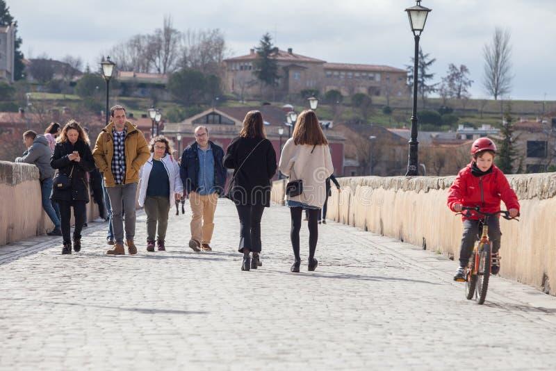 Römische Brücke Salamancas lizenzfreies stockbild