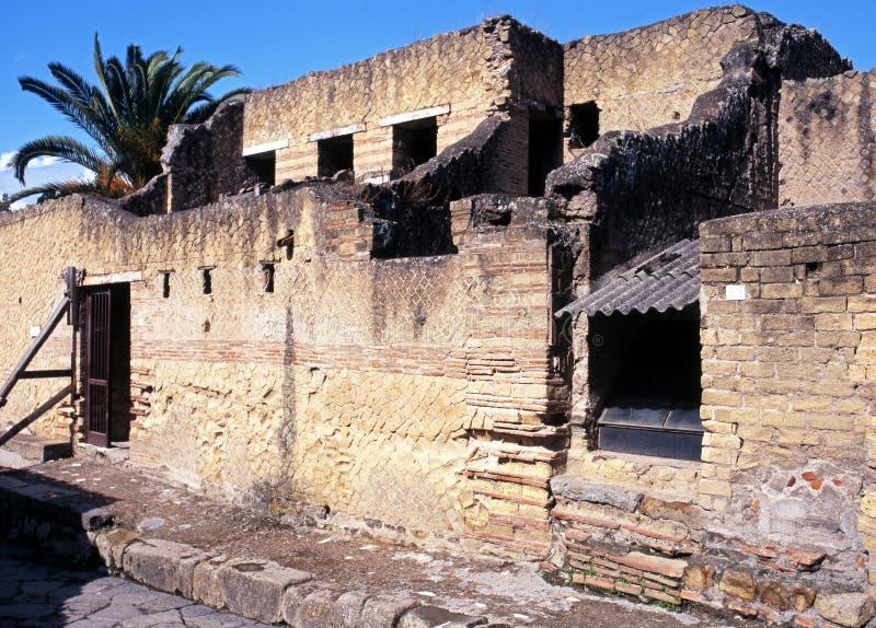Römische Häuser, Herculaneum, Italien. lizenzfreies stockbild