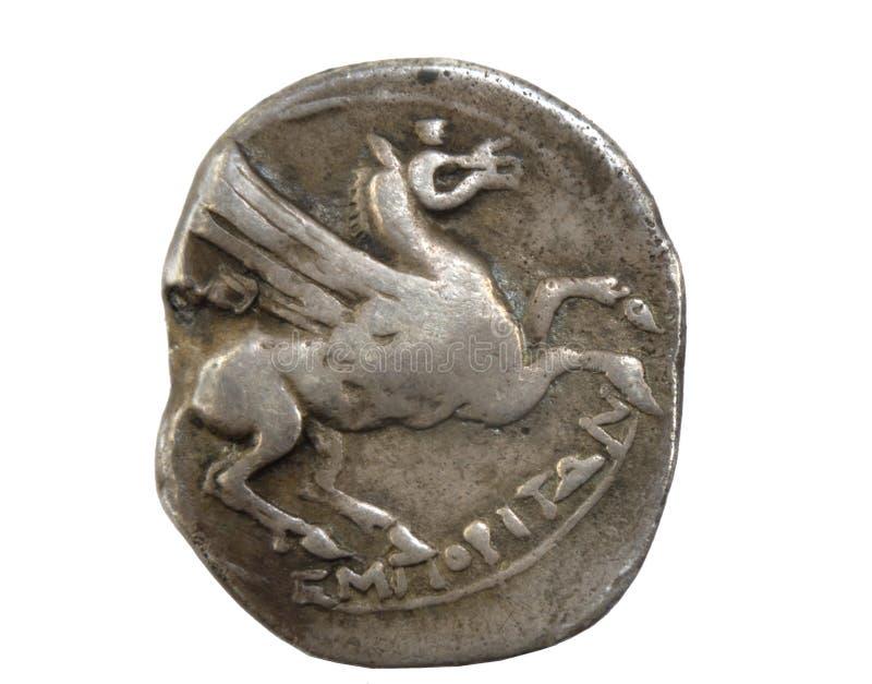 Römische Münze, Detail einer alten römischen Münze stockfotografie