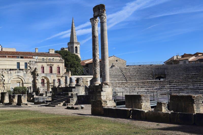 Römische Ruinen in Arles, Frankreich stockfotografie