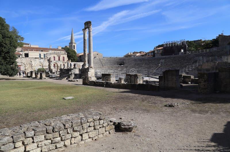 Römische Ruinen in Arles, Frankreich lizenzfreie stockfotos
