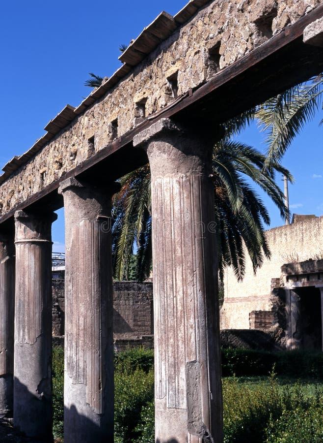 Römische Spalten, Herculaneum, Italien. stockbild