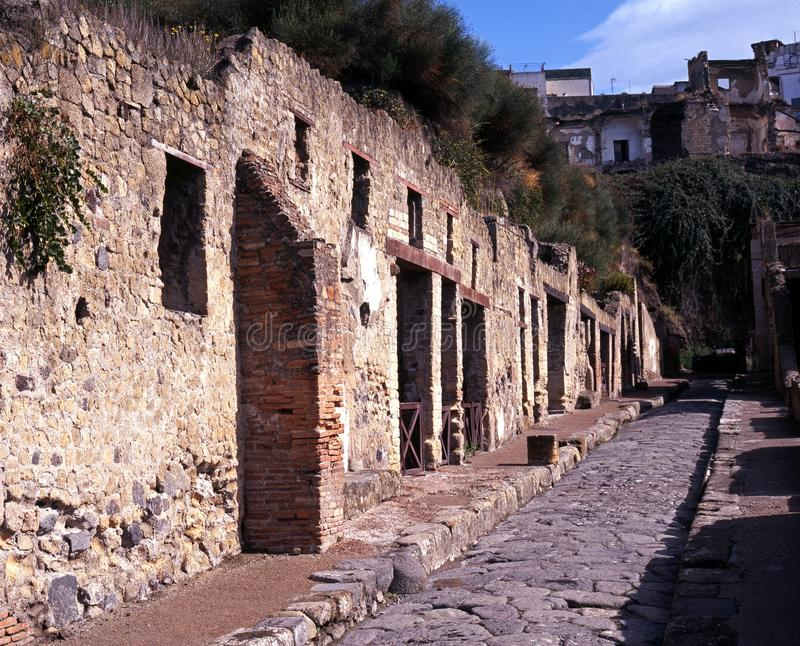 Römische Straße, Herculaneum, Italien. lizenzfreies stockfoto