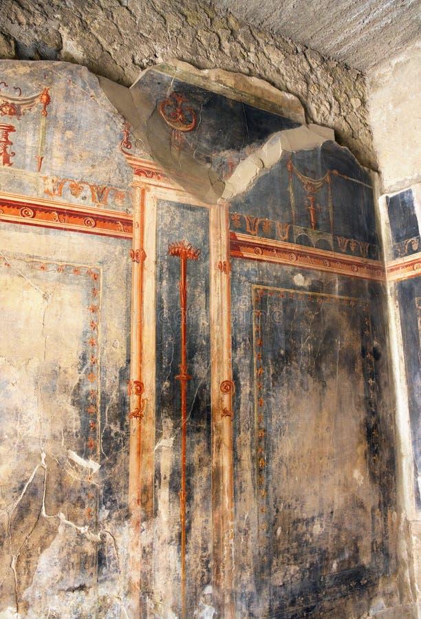 Römische Wandkunst - ich - Herculaneum - Italien lizenzfreie stockfotos