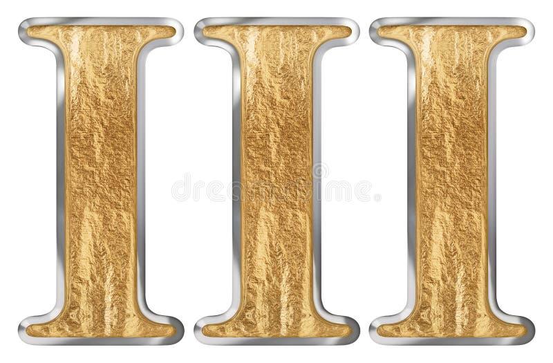 Römische Zahl III, tres, 3, drei, lokalisiert auf weißem Hintergrund, 3d übertragen lizenzfreie abbildung