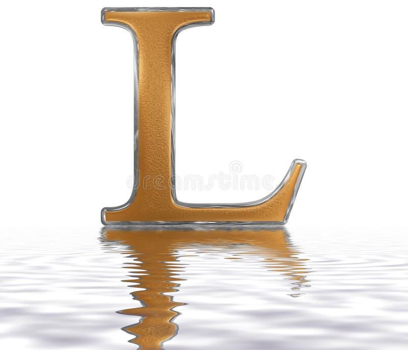 Römische Zahl L, quinquaginta, 50, fünfzig, nachgedacht über das Wasser stock abbildung