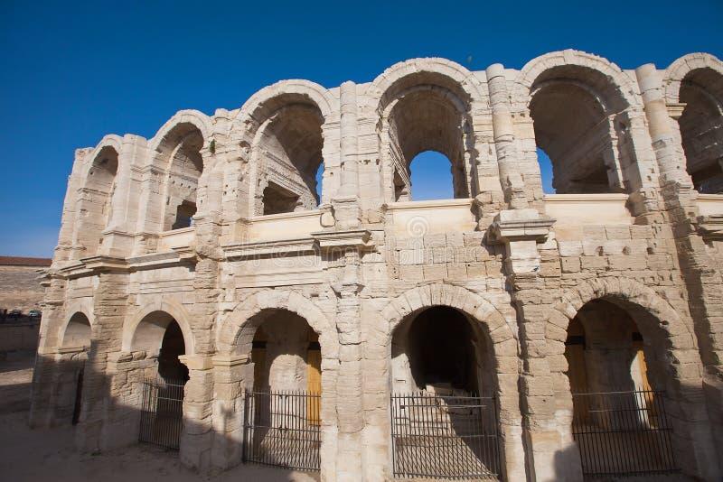 Römischer Amphitheatre (circa ANZEIGE 90). Arles, Frankreich lizenzfreies stockbild