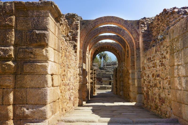 Römischer Amphitheatre, Mérida, Spanien lizenzfreie stockfotografie