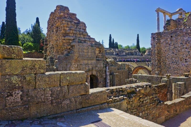 Römischer Amphitheatre, Mérida, Spanien lizenzfreie stockbilder