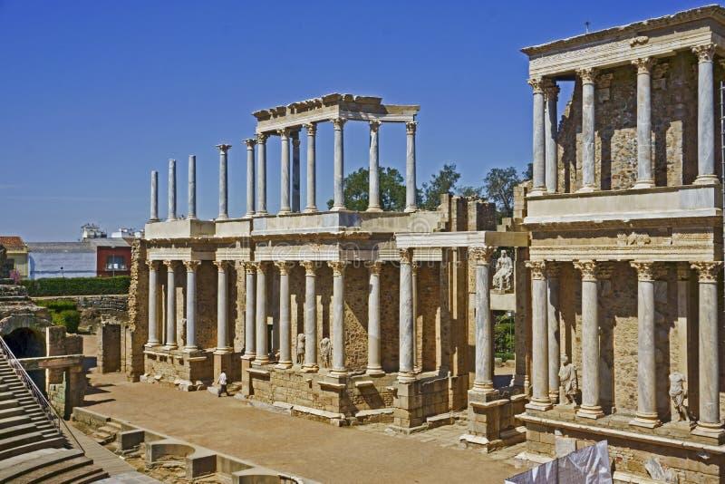 Römischer Amphitheatre, Mérida, Spanien stockbild