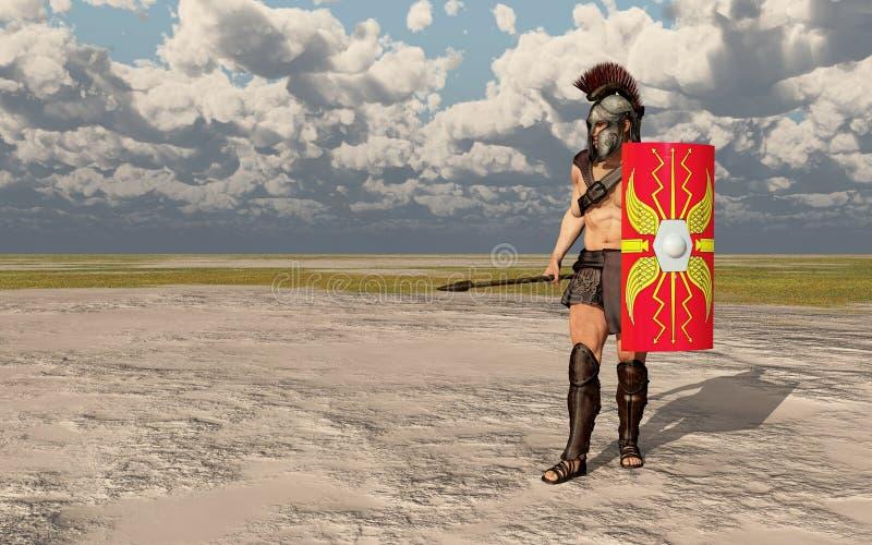 Römischer Befehlshaber in einer Landschaft lizenzfreie abbildung