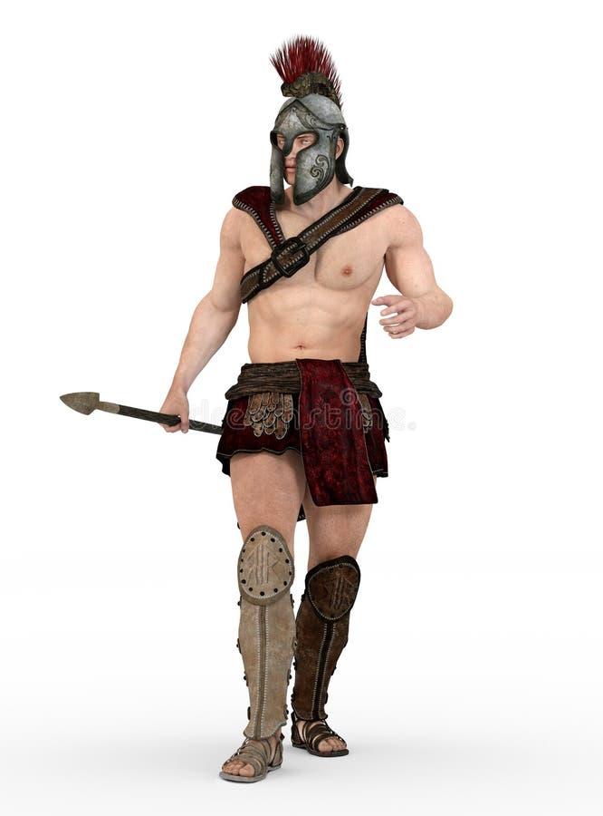 Römischer Befehlshaber gegen einen weißen Hintergrund stock abbildung