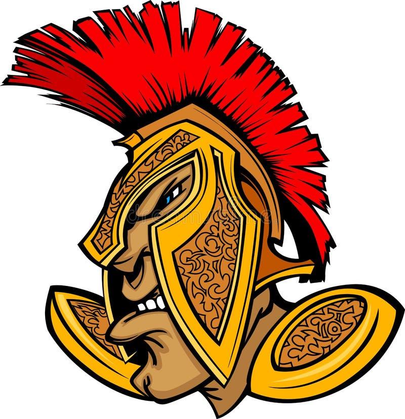 Römischer Befehlshaber-Maskottchen-Kopf mit Sturzhelm-Karikatur vektor abbildung