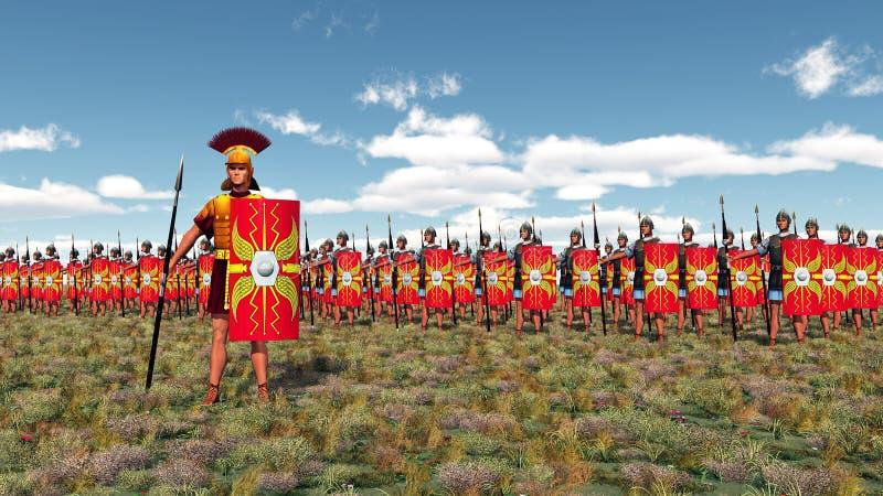 Römischer Befehlshaber und Legionäre lizenzfreie abbildung