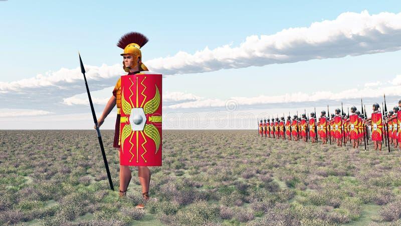 Römischer Befehlshaber und Legionäre vektor abbildung
