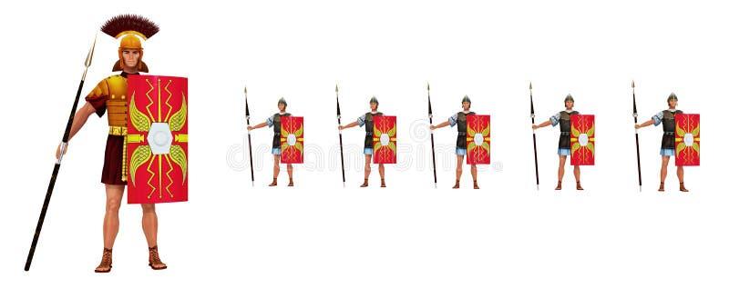 Römischer Befehlshaber und Legionäre lokalisiert auf weißem Hintergrund lizenzfreie abbildung