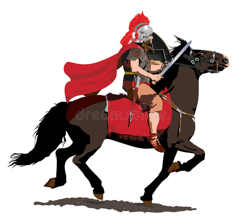 Römischer Cavalryman mit roter Feder und Mantel stock abbildung