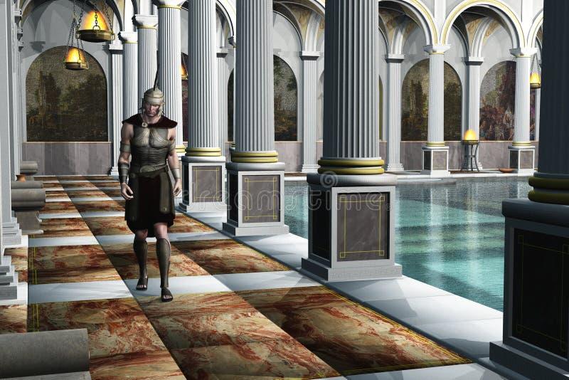 Römischer Soldat in der Badeanstalt lizenzfreie abbildung