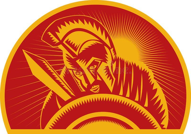 Römischer Soldat oder Gladiator mit Klinge und Schild stock abbildung