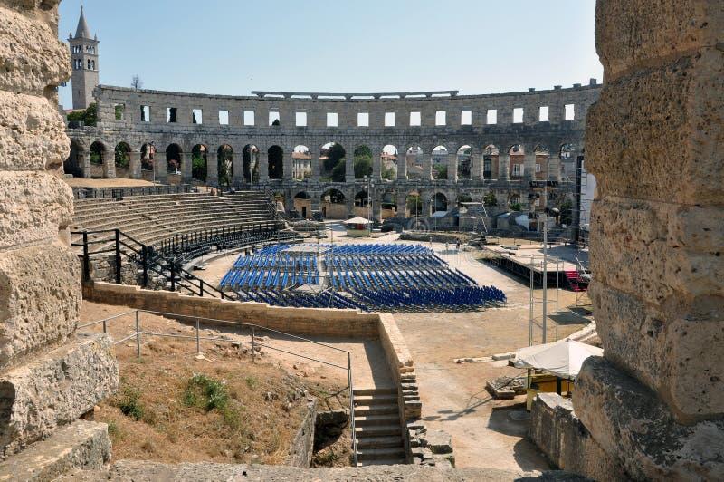 Römisches Amphitheater, colosseum in den Pula, Kroatien stockbild