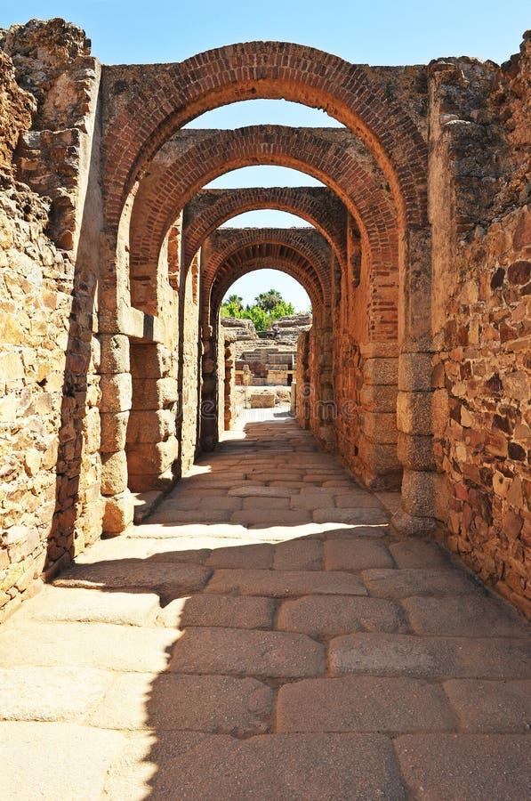 Römisches Amphitheater in Mérida, Extremadura Region, Spanien stockbild