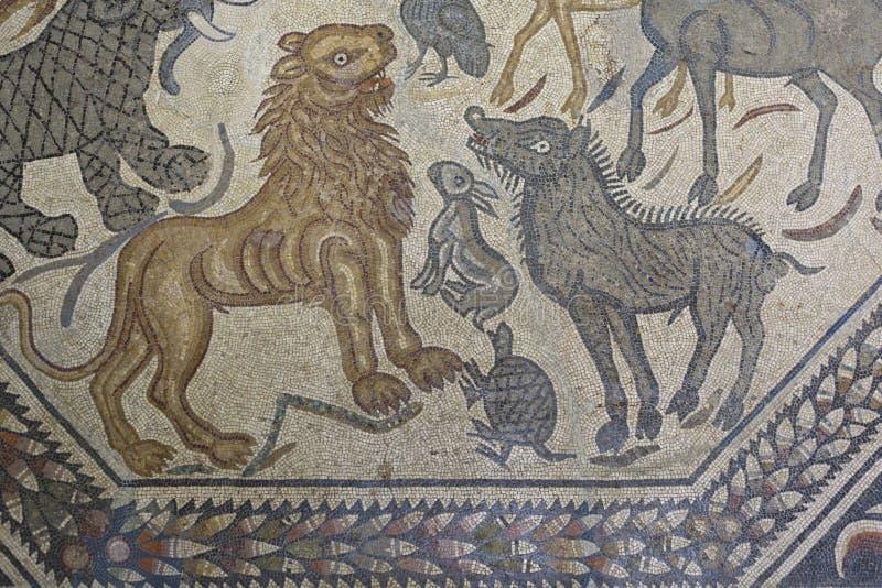 Römisches Mosaik der wilden Tiere lizenzfreie stockbilder