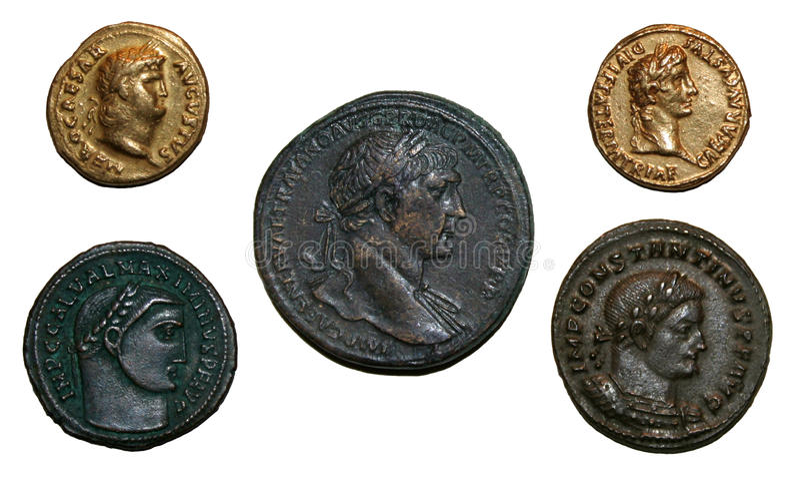 Römisches Reich-Münzen lizenzfreies stockbild