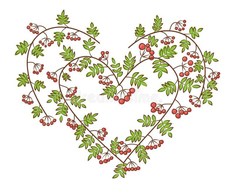 Rönn-bär i illustration för hjärtaformvektor Filialer med sidor och röda bär stock illustrationer