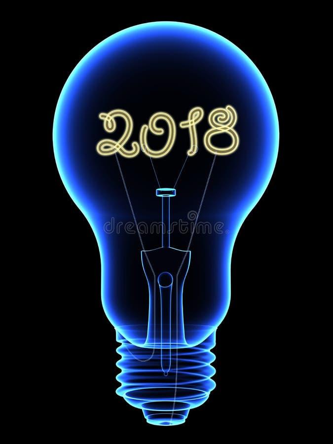 Röntgen Sie Glühlampe mit dem funkelnden Innere mit 2018 Stellen, das auf Schwarzem lokalisiert wird vektor abbildung