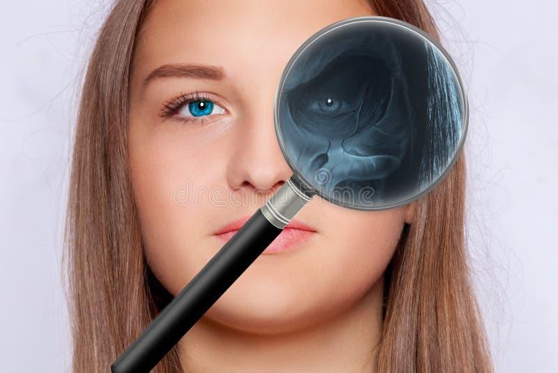 Röntgenbild av framsidan, oftalmologi arkivbild