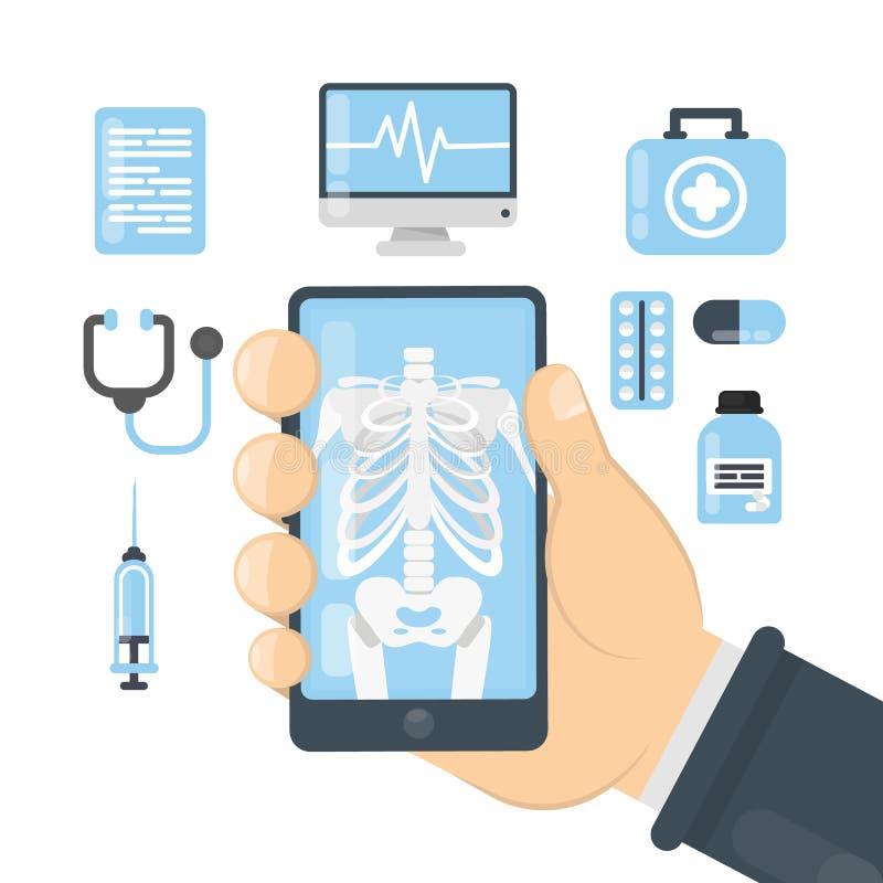 Röntgenstraal app stock illustratie