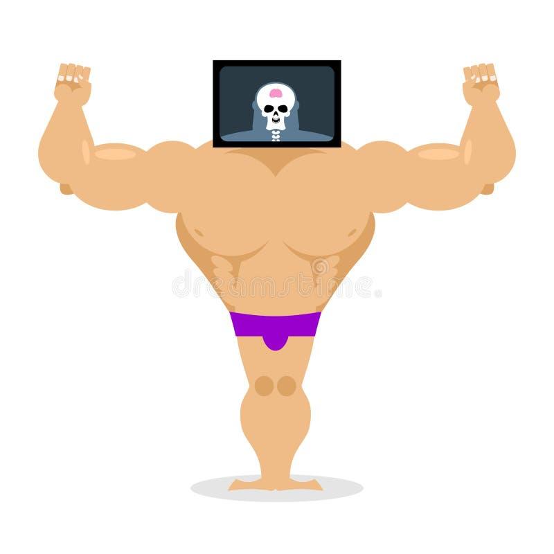 Röntgenstraal hoofdbodybuilder grote spieren en kleine hersenen Structuur royalty-vrije illustratie