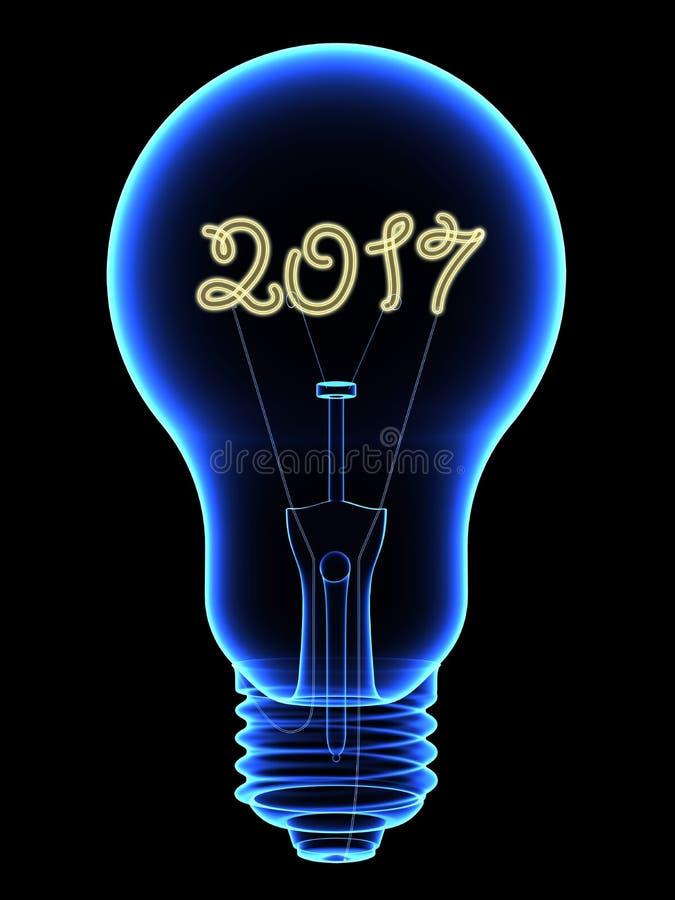 Röntgenstraal lightbulb met fonkelende 2017 cijfersbinnenkant die op zwarte wordt geïsoleerd vector illustratie