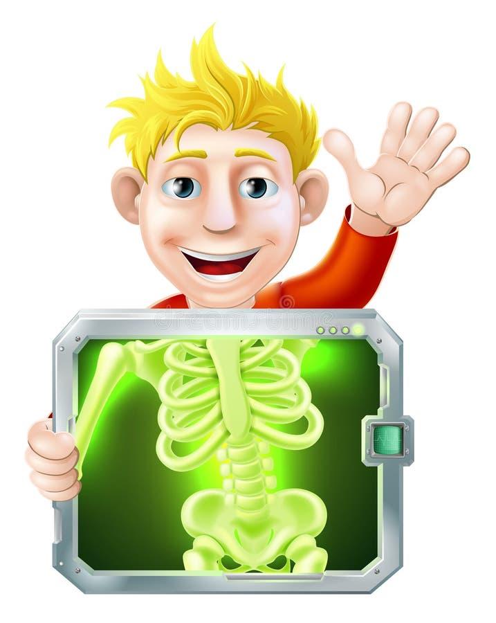 Röntgenstraalmens het Golven stock illustratie