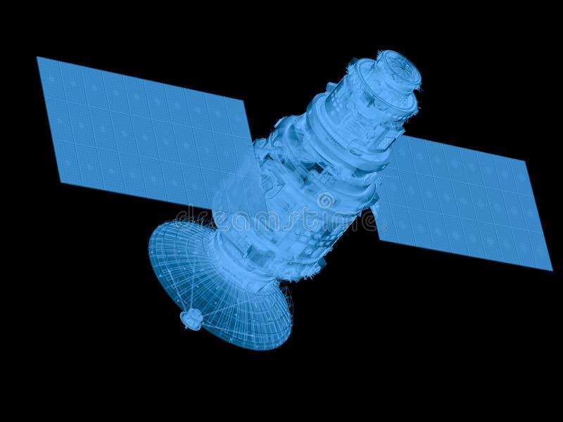 Röntgenstraalsatelliet op zwarte wordt geïsoleerd die stock foto