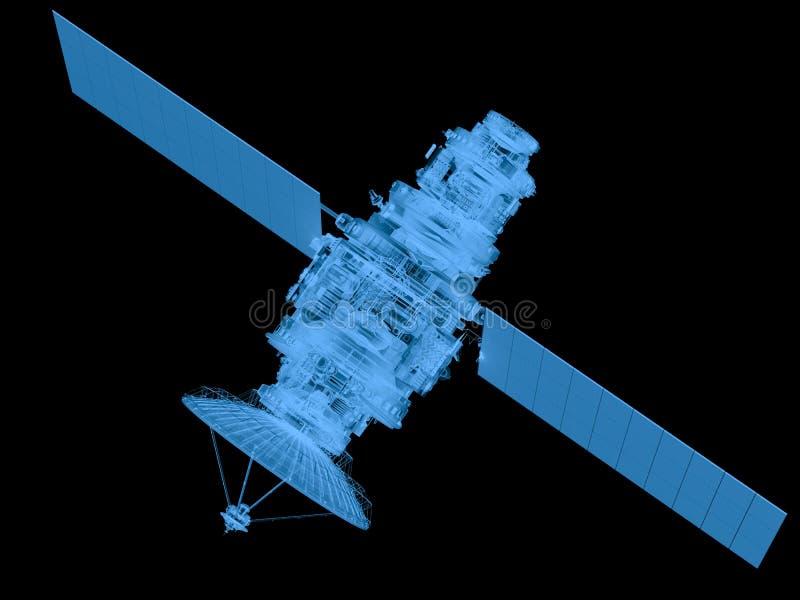 Röntgenstraalsatelliet op zwarte wordt geïsoleerd die vector illustratie