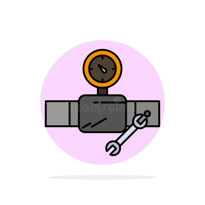Rör byggnad, konstruktion, reparation, Gage Abstract Circle Background Flat färgsymbol vektor illustrationer