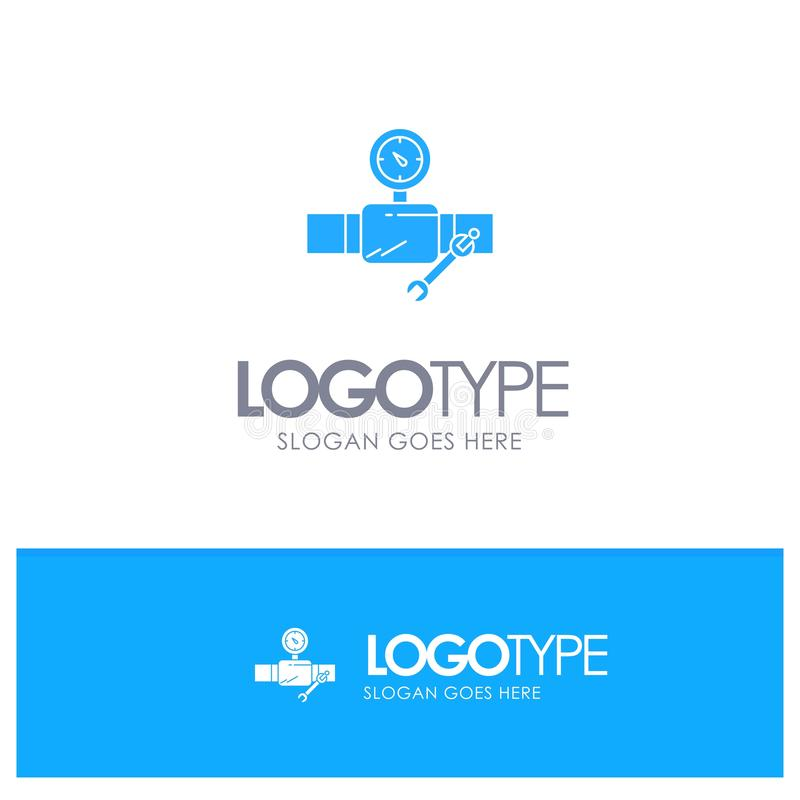 Rör byggnad, konstruktion, reparation, Gage Blue Solid Logo med stället för tagline royaltyfri illustrationer